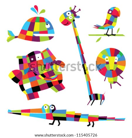 vector set of colored geometric animals, which are found in Africa, South America, Australia: elephant, giraffe, lion, parrot, crocodile, whale. It can be used as illustrations for the posters