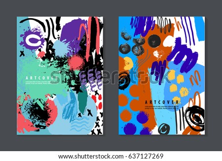 Vector Set of colorful artistic creative cards. Hand Drawn textures. Use for Wedding invitations, anniversary, birthday, Valentine's day, party. Design for poster, card, brochure, flyer.