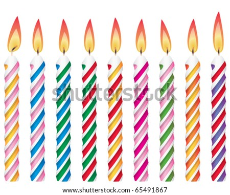 vector set of colorful birthday candles