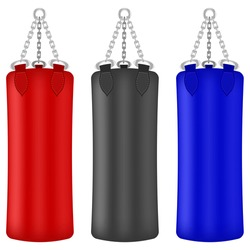 Vector Set of Colorful Boxing Bags Isolated on White Background