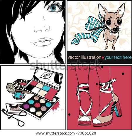 vector set of colorful cards with a girl, make up, fashion shoes and a little dog with a streaky bow
