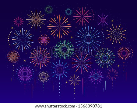 Vector set of colorful celebration festive fireworks for holiday, new year party, Xmas, birthday, carnival, Independence day. Firework show in dark evening sky. Pyrotechnics firecracker background stock photo