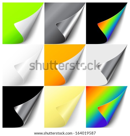 Vector set of colorful curled corners