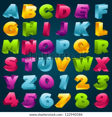3D font, big colorful letters standing,… Stock Photo