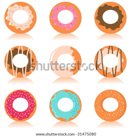 Vector set of colorful donuts with different design