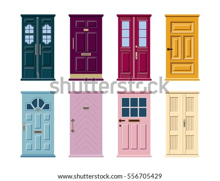 Vector set of colorful door icons isolated on white background. Blue, pink, yellow, green, violet, purple, turquoise