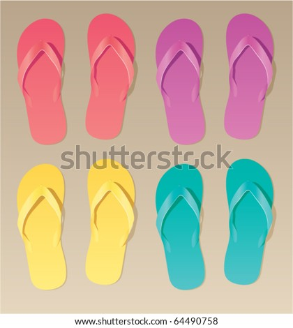 vector set of colorful flip flops