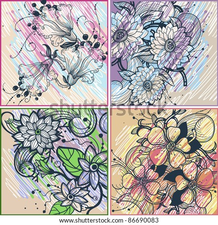 vector set of colorful floral cards with blooming flowers