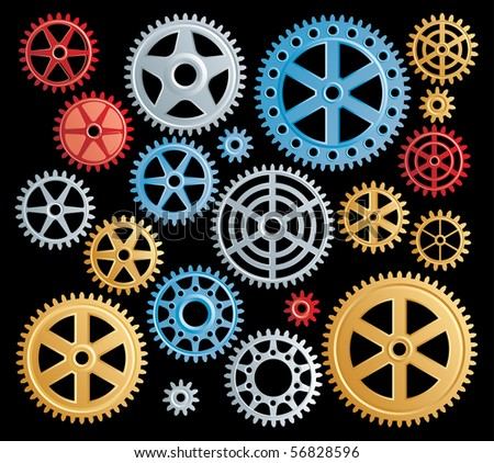 vector set of colorful gears