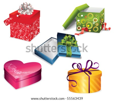 Vector set of colorful gift boxes