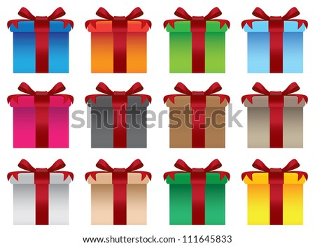 Vector set of colorful gift boxes with red ribbons