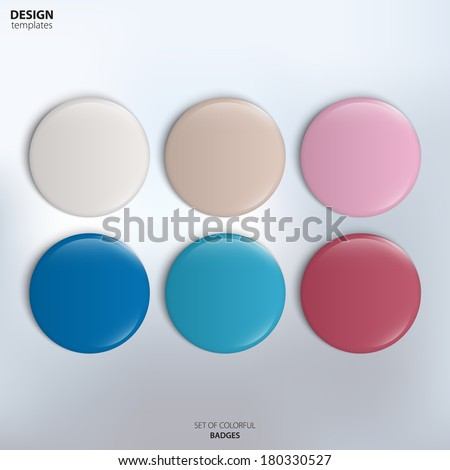 Vector set of colorful glossy badges