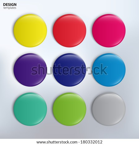 Vector set of colorful glossy badges.