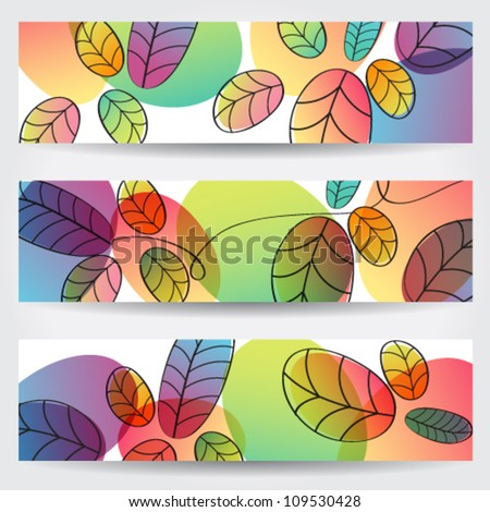 Vector set of colorful, hand drawn style autumn leaves banners illustration