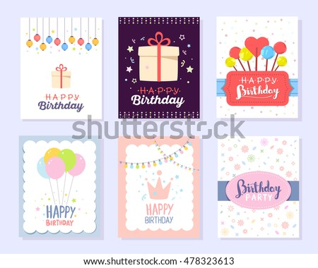 Happy birthday card design with flat color balloons download free vector set of colorful illustration happy birthday template poster with pink crown gift box m4hsunfo