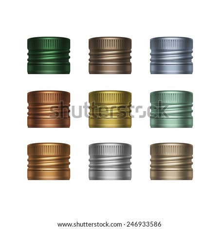 Vector Set of Colorful Multicolored Screw Bottle Caps Isolated on White Background