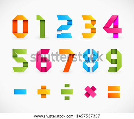 Vector Set of Colorful Origami Numbers and Math Symbols.
