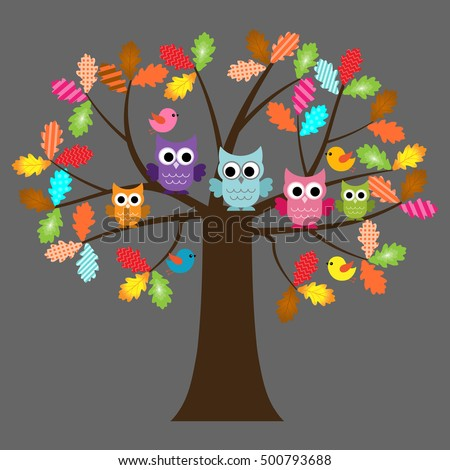 vector set of colorful owls and