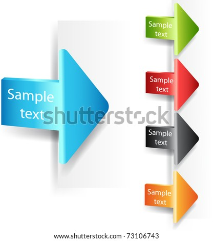 Vector set of colorful plastic arrows
