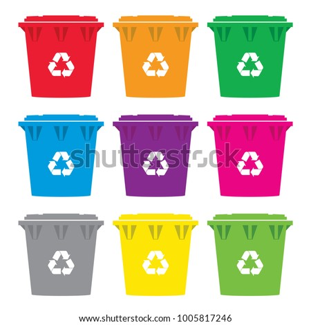 vector set of colorful recycling wheelie bin icons isolated on white background. garbage and waste recycle cans. modern flat style design of wheely bins