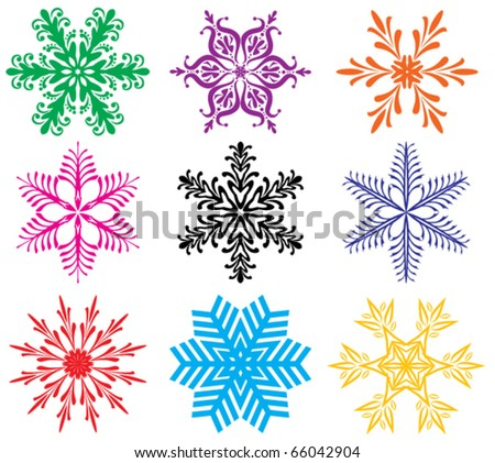 vector set of colorful snowflakes