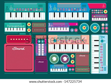Vector set of colorful Synthesizer Keys Knobs Buttons and keyboard