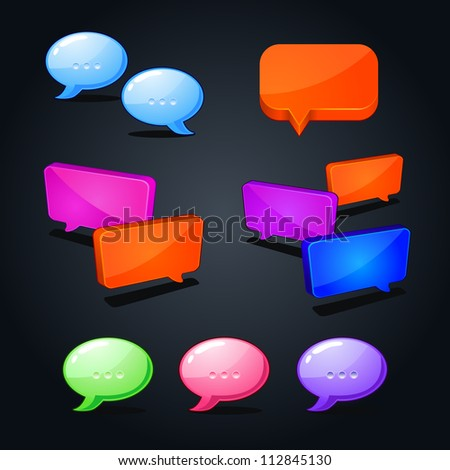 vector set of colorful web bubble chat icon. question-answer illustration - stock vector
