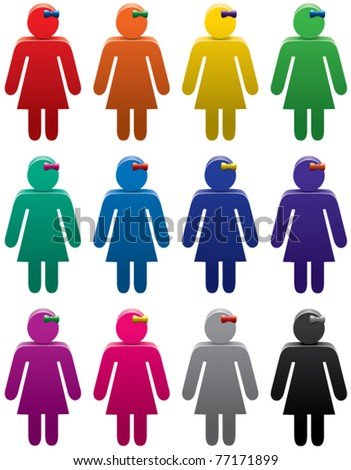 vector set of colorful woman symbols