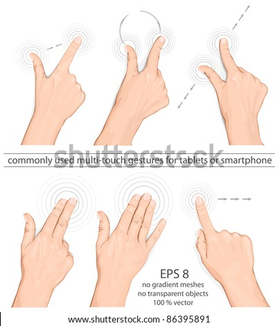 Vector set of commonly used multi-touch gestures for tablets or smart phone
