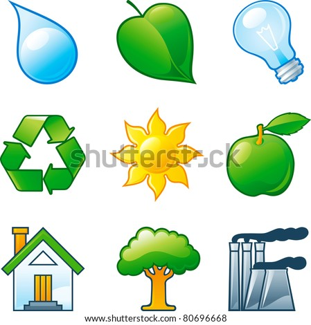 Vector set of  computer shine icons for environment. Part 4