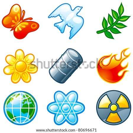 Vector set of  computer shine icons for environment. Part 3