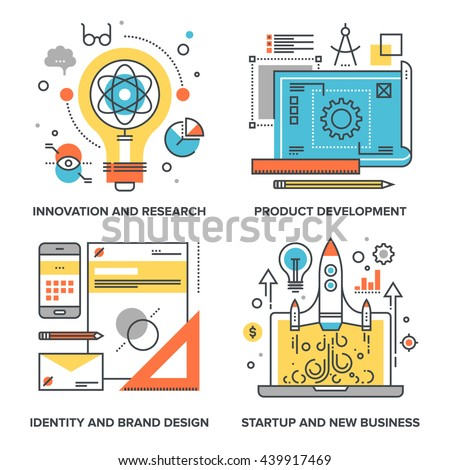 Vector set of conceptual flat line illustrations on following themes - innovation and research, product development, identity and brand design, startup and new business