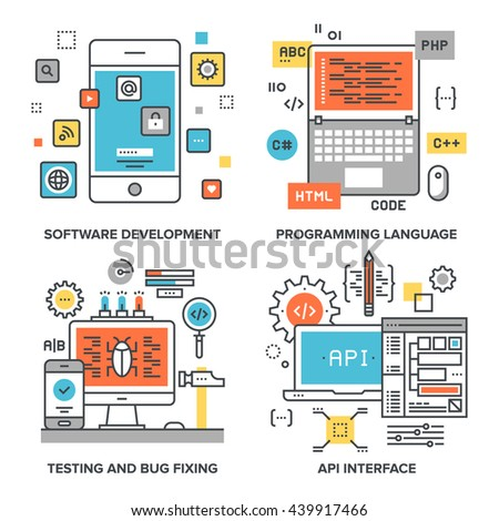 Vector set of conceptual flat line illustrations on following themes - software development, programming language, testing and bug fixing, api interface