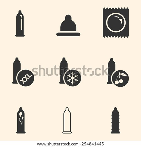 vector set of condom icons