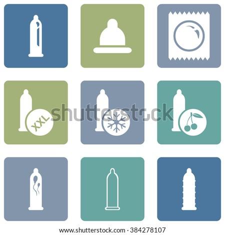 vector set of condom icons