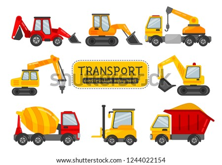 Vector set of construction equipment. Illustration in cartoon style.