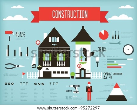 Vector set of construction infograpic containing various icons of tools and houses