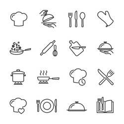 Vector set of cooking line icons.