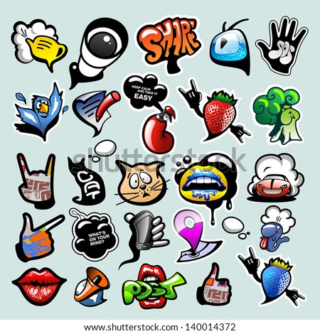 Shutterstock Vector set of cool social media signs and other shiny icons in graffiti style