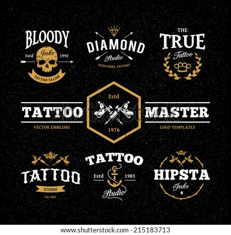 vector set of cool tattoo