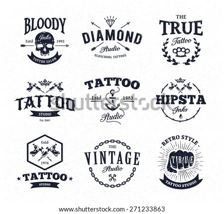 Vector Set Of Cool Tattoo Studio Logo Templates On White Background Retro Styled Trendy