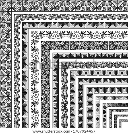 Vector set of corner brushes, ethnic greek meander pattern. Wide and narrow classical ornament in Hellenic style for the design of frames, boarders, edging, certificate, menu, invitation, wedding card Stock foto ©