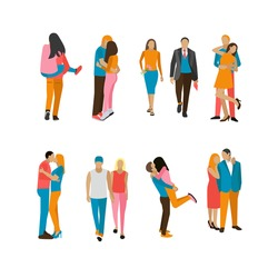 Vector set of couples in love. People characters in different situations and poses isolated on white background. Lovers kiss and hug each other.
