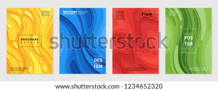 Vector set of cover design template with paper cutting abstract patterns; Modern colorful bright gradient; Realistic carving art; Vector 3d templates; Material design concept.