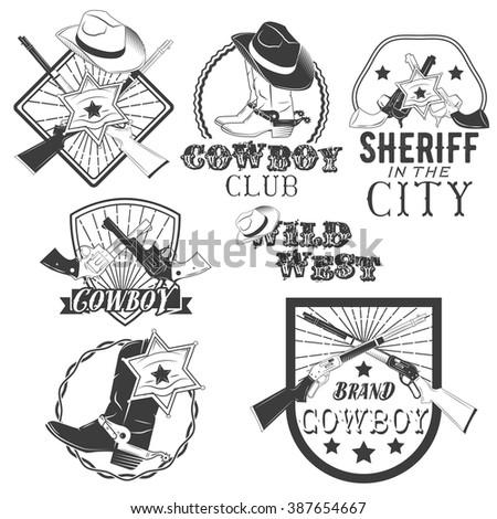 vector set of cowboy labels in