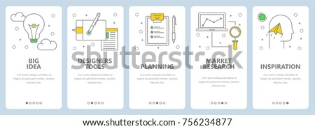 Vector set of creative concept banners. Big idea, Designers tools, Planning, Market research, Inspiration web templates. Modern thin line art style design elements, icons for website menu, print.