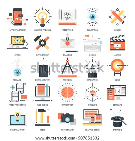 Vector set of creative process flat web icons. Illustration graphic design concepts. Modern flat icon style. Symbols for mobile and web graphics. Logo creative concepts