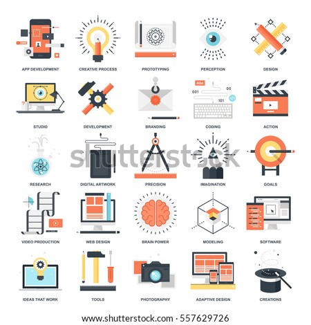 Vector set of creative process flat web icons. Illustration graphic design concepts. Modern flat icon style. Symbols for mobile and web graphics. Logo creative concepts.