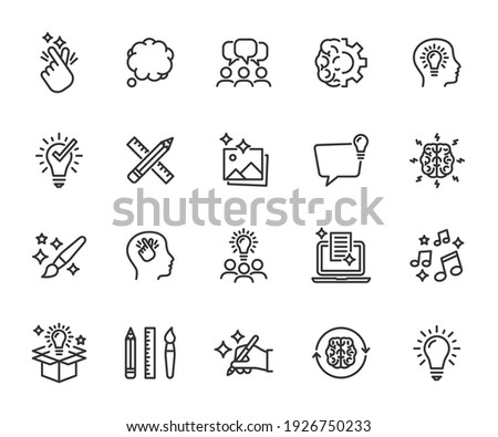 Vector set of creativity line icons. Contains icons idea, brainstorm, thought, quick tips, inspiration, teamwork and more. Pixel perfect.