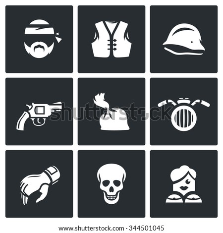 vector set of criminal biker